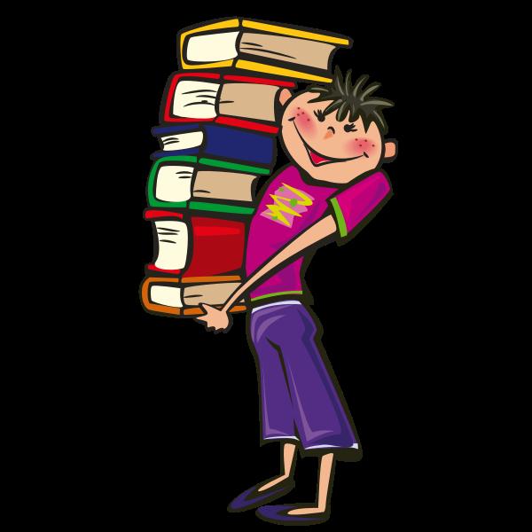 Boy holding books vector image