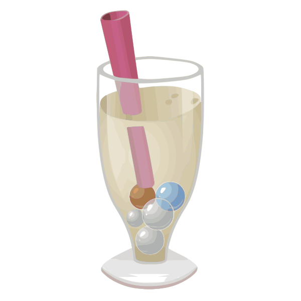 Color drawing of a bubbly in champagne glass