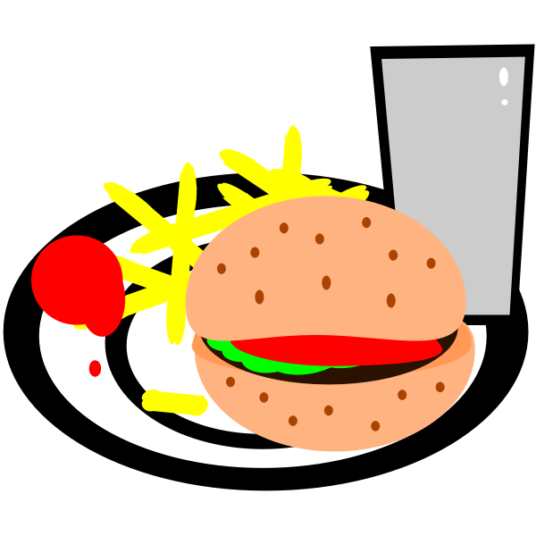 burger and chips vector clip art