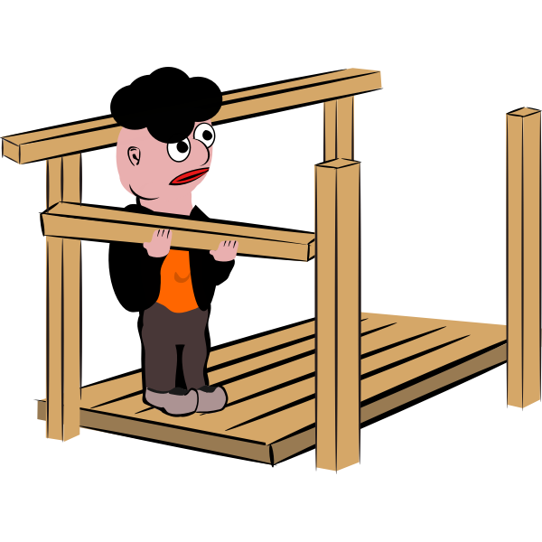 Vector illustration of man building a timber frame