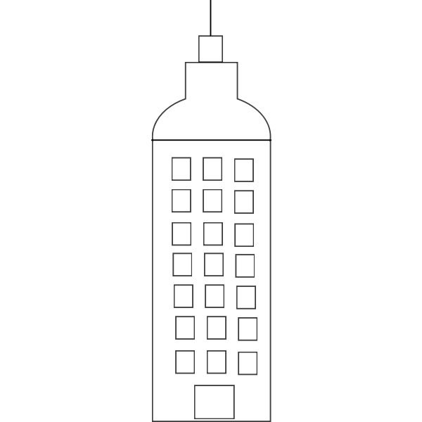Vector image of simple cartoon tower block