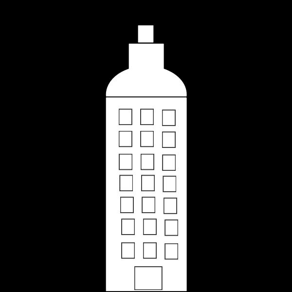 Vector image of simple cartoon tower block