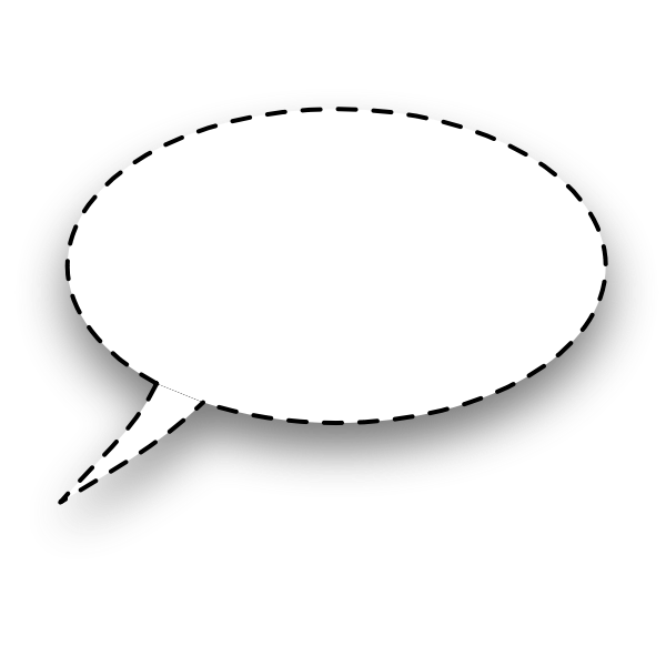 Dotted line oval shaped speech bubble vector image