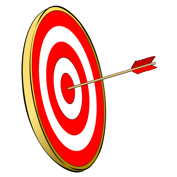 Vector clip art of target with arrow