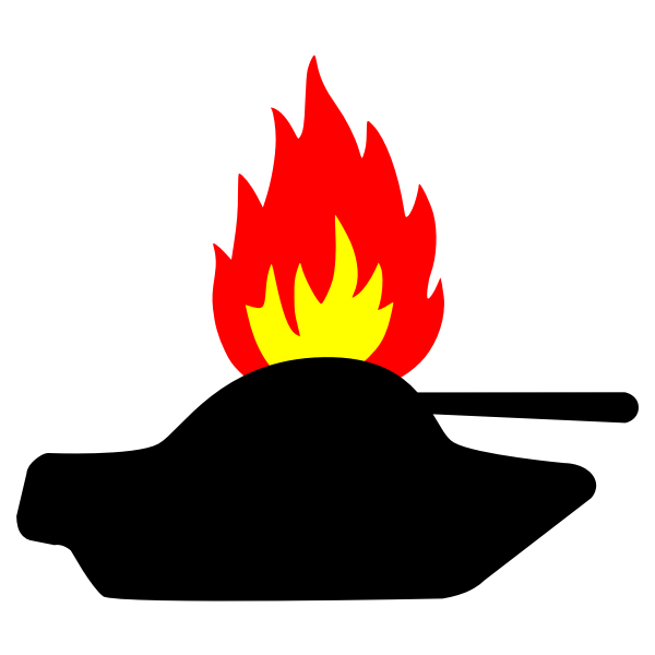 Burning tank vector image
