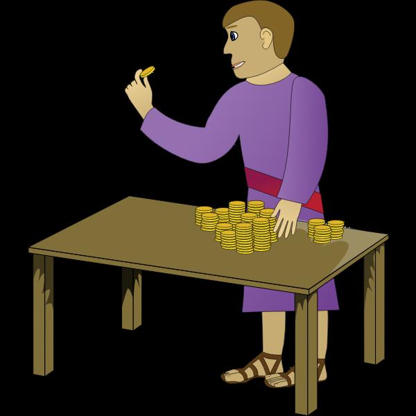 Vector image of moneylender
