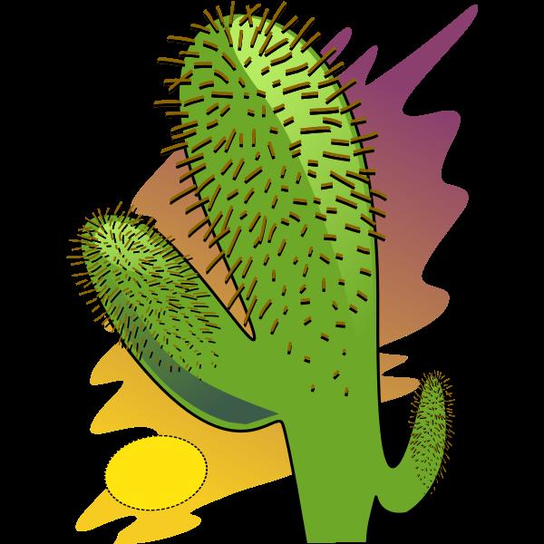 Vector clip art of cartoon cactus in the sun heat