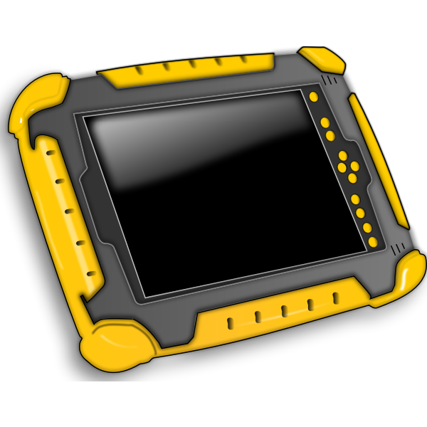 Tablet PC in a protected case vector image