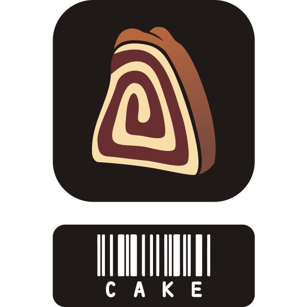 Vector image of two piece sticker for cake with barcode
