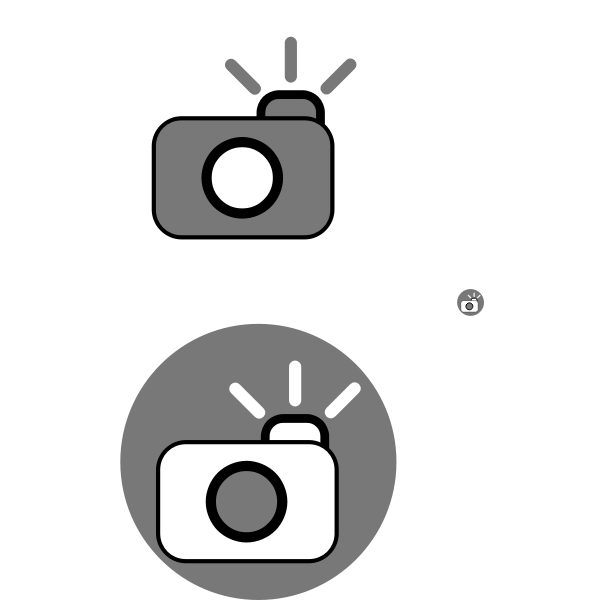 Camera with flash icon vector clip art