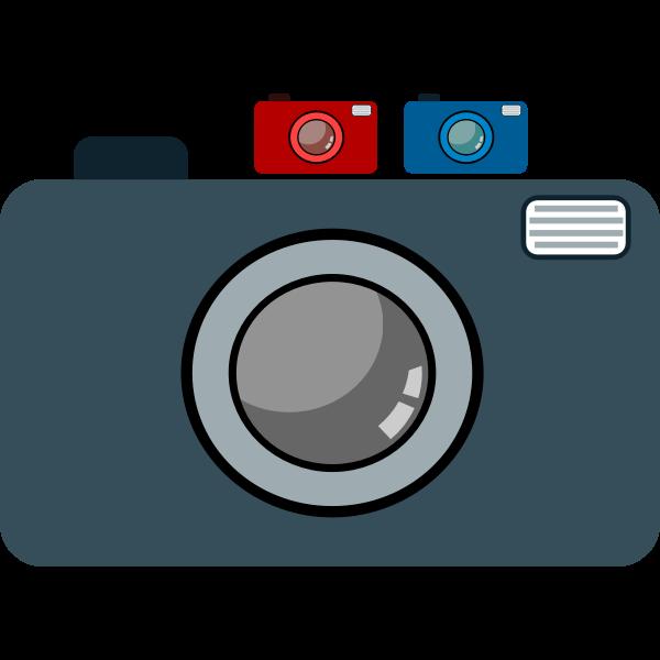 three digital cameras icon vector graphics