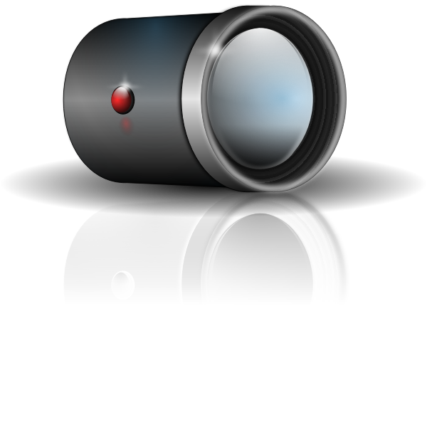 Camera lens attachment with shadow vector clip art