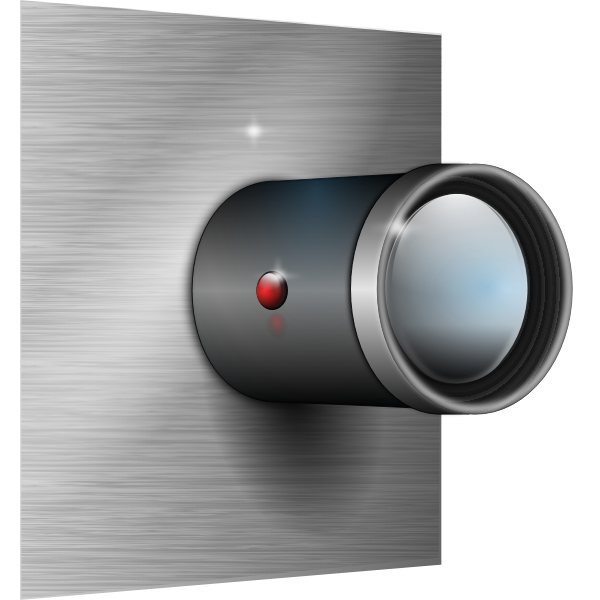 Camera lens attachment on wall vector image