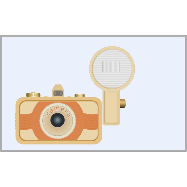 Vector illustration of vintage camera with old flash