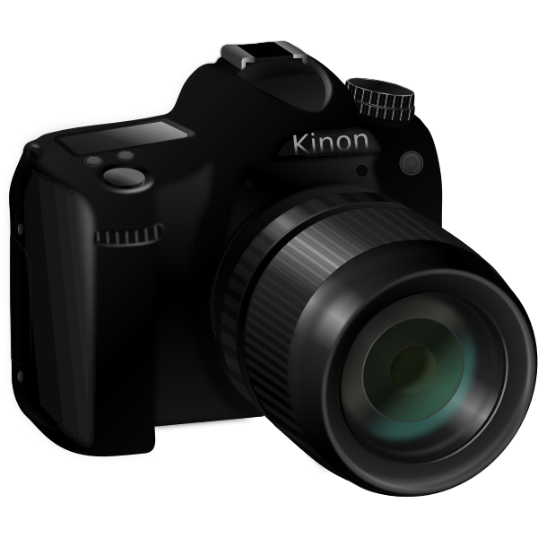 Photorealistic vector image of a professional camera with long lens