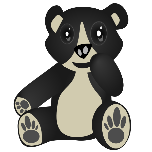 Vector clip art of sitting and laughing bear