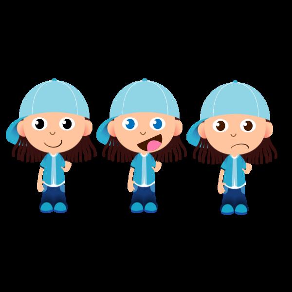 Three boys with caps