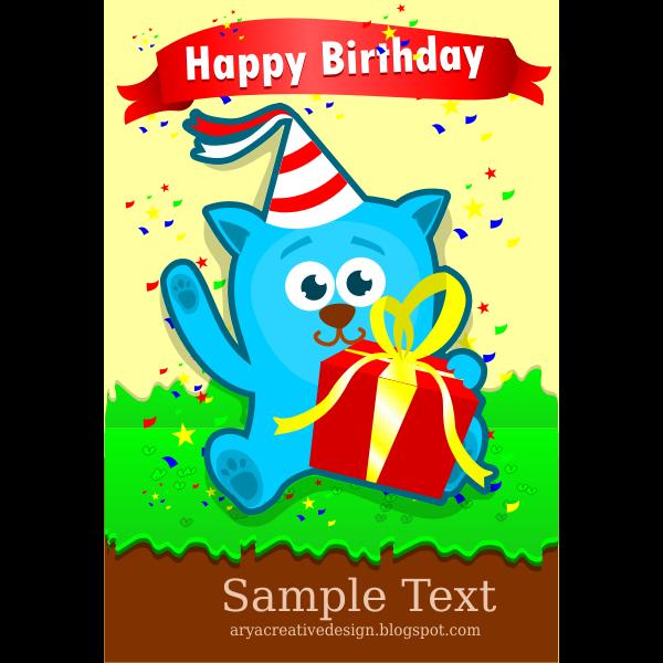 Birthday card template vector image
