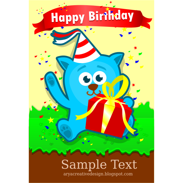 Birthday card template vector image
