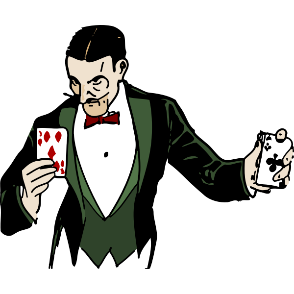 Card trick vector illustration