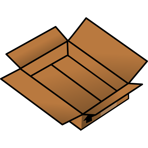 Vector drawing of an open shallow cardboard box