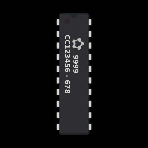 Generic 20-pin IC chip vector clip art