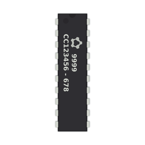 Generic 20-pin IC chip vector clip art