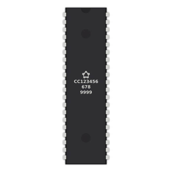 Generic 40-pin IC chip vector graphics