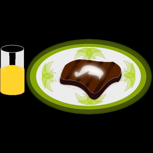 Vector illustration of steak and orange juice meal