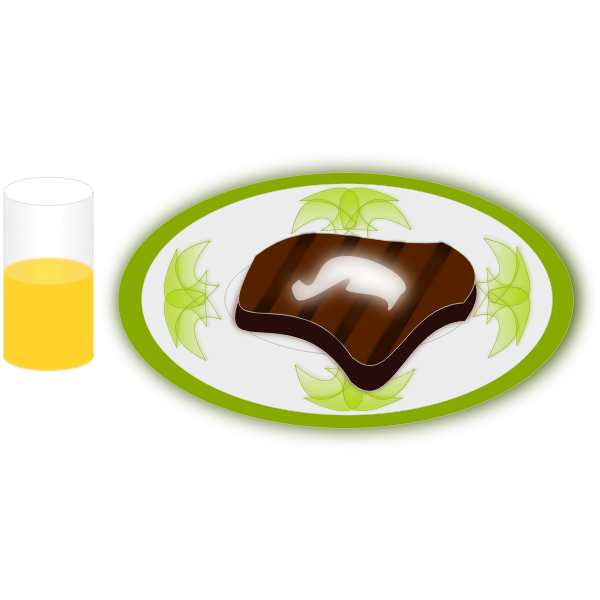 Vector illustration of steak and orange juice meal