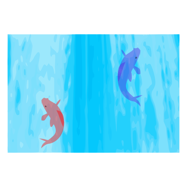 Vector graphics of carps climbing up a waterfall