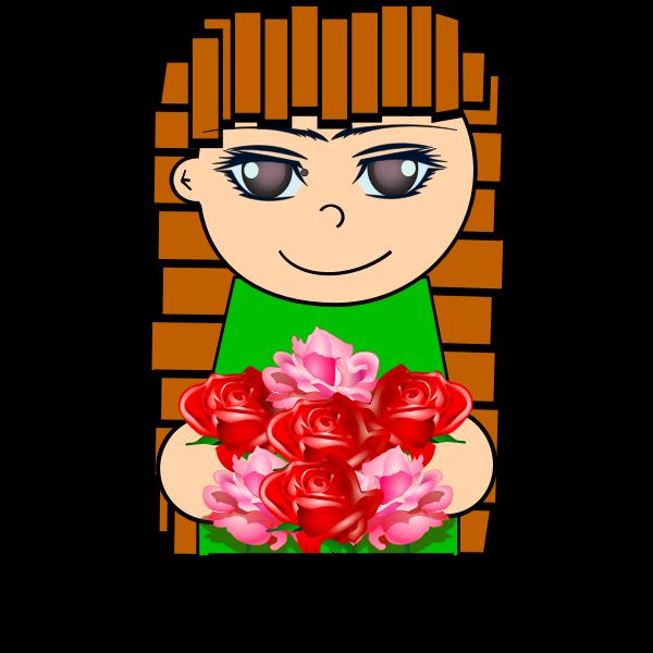 Cartoon girl with flowers