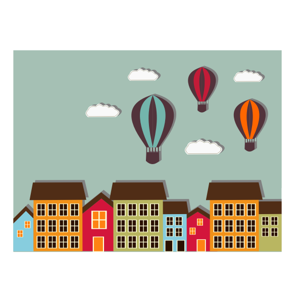 Colorful houses and balloons