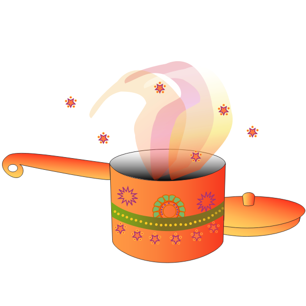 Image of decorated cooking pot with lid