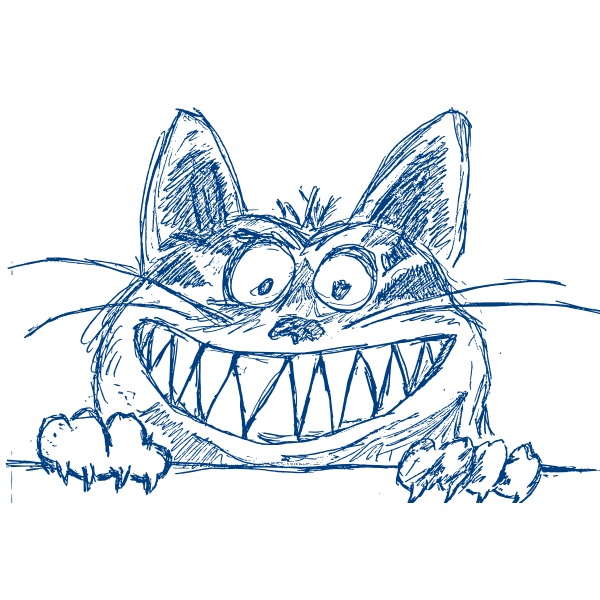 Vector image of grinning cat