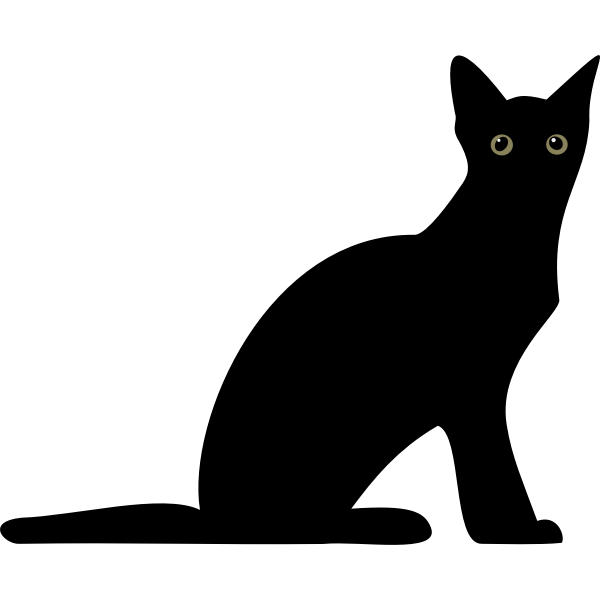 Silhouette vector illustration of cat with glowing eyes