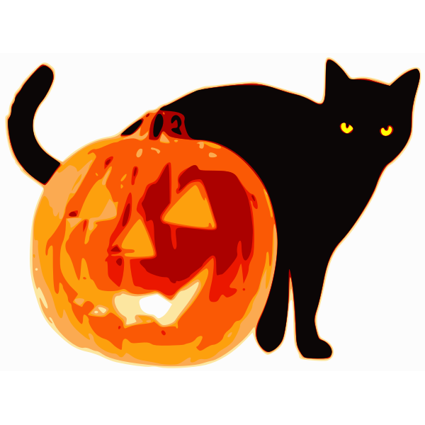 Vector clip art of black cat and pumpkin