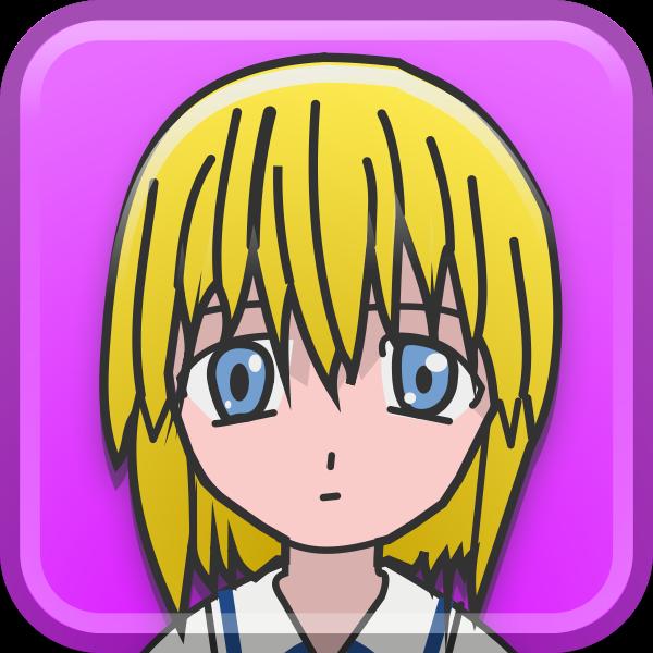 Yellow manga girl vector illustration