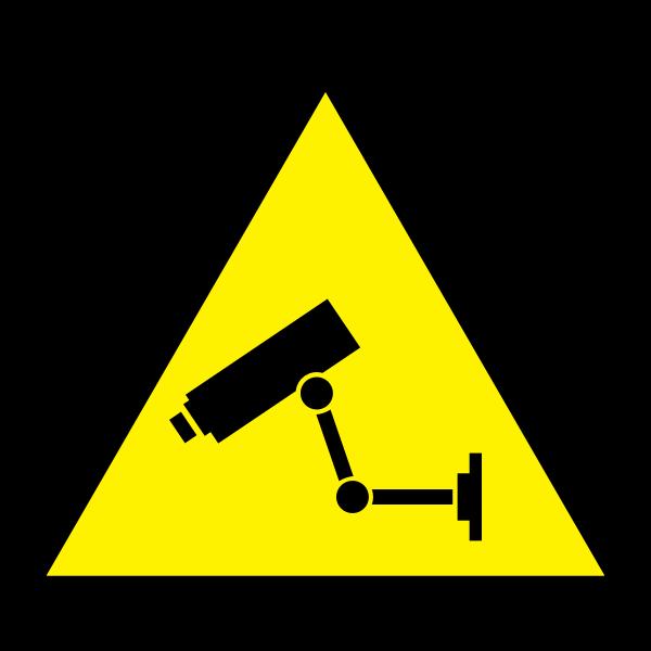 Video surveillance hazard warning sign vector image