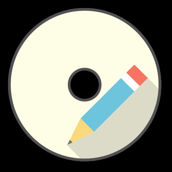 CD-ROM and pencil vector clip art