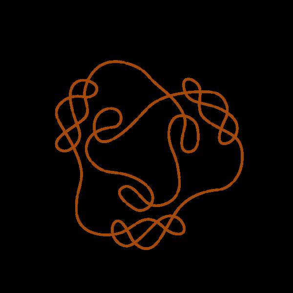 Graphics of black and orange flower shaped Celtic knot