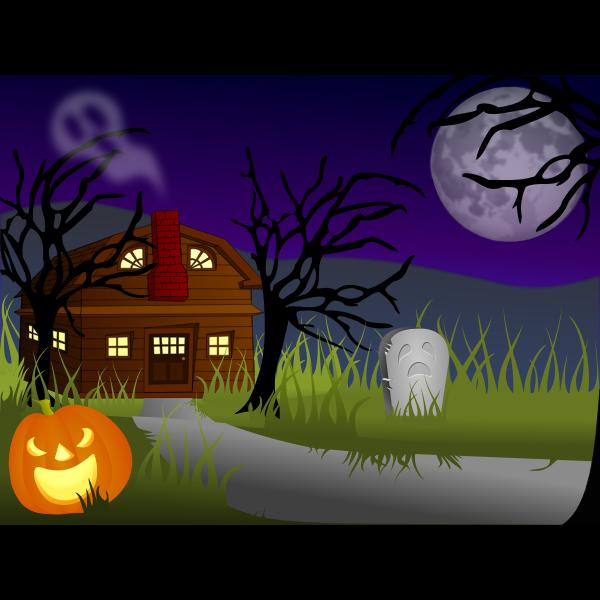 Vector image of dark Halloween haunted house