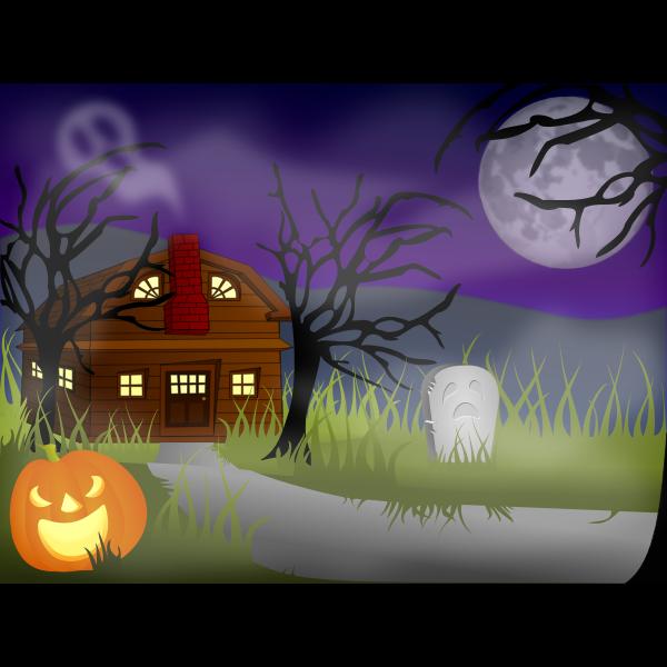 Halloween haunted house vector drawing
