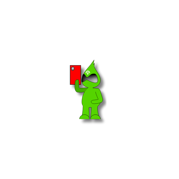 Vector clip art of green monster character with a tablet