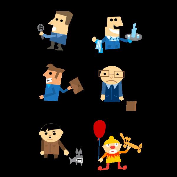 Cartoon character icons set vector clip art