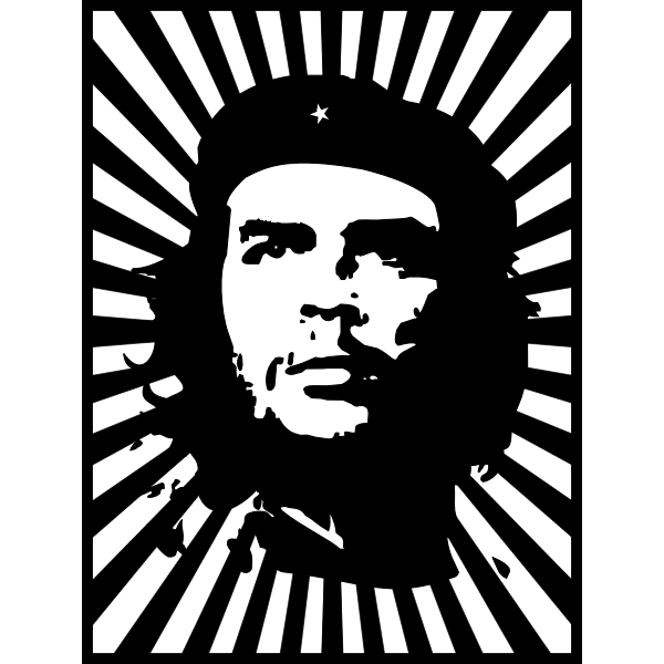 Che Guevara portrait on striped background vector image