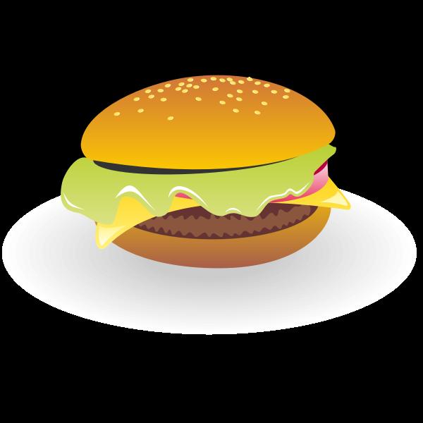 Cheeseburger with sauce vector drawing