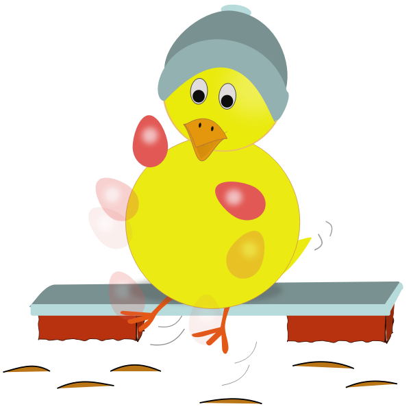 Easter chicken juggling eggs vector  image