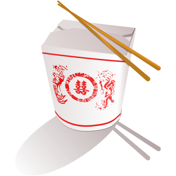 Chinese fast food with chopsticks vector image