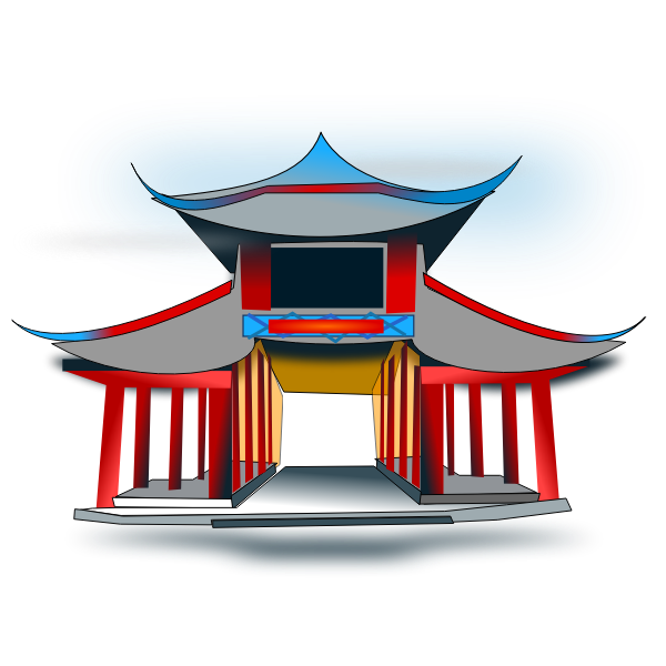 Vector clip art of Chinese house